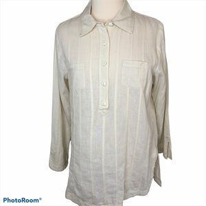 TravelSmith Cream Linen Cotton Long Sleeve Tunic L